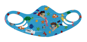 An antimicrobial, breathable, comfortable and washable ocean funny diver pattern printed spacer face mask for kids